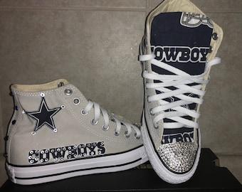 Bedazzled Dallas Cowboys High Top ALL STAR Converses