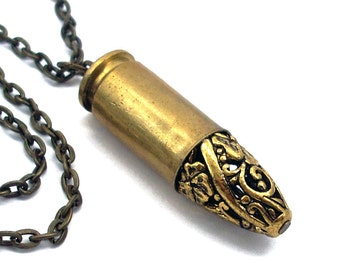 Brass Bullet with Bronze Filigree Point - Bullet Necklace - Hippie Jewelry - Eco-Friendly
