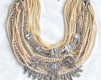Custom Wedding Necklace, Made To Order Wedding Jewelry Ivory Pearl Necklace, Rhinestone Wedding Necklace, Pearl Vintage Chunky Bib Necklace