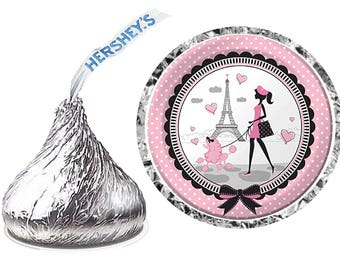 216 ~ PARIS EIFFEL TOWER Birthday Party Hershey Kiss Kisses stickers Labels ~ Free Shipping