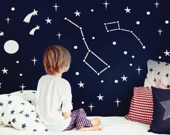 Ursa major and ursa minor constellation wall decal, Big dipper and Little dipper stickers, Little bear nursery decals, Zodiac decor #145