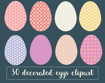 Easter egg clipart, decorated Easter eggs, patterned Easter eggs, digital, clipart, geometric, floral, pastel, instant download