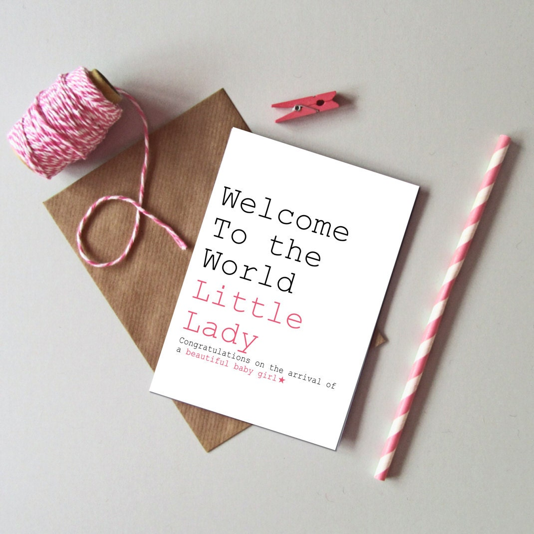 Baby girl card welcome to the world little lady card new zoom m4hsunfo