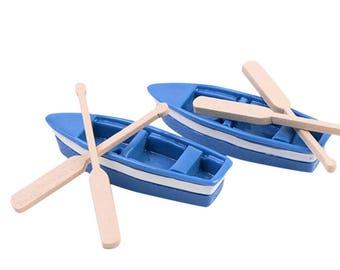 Katara Decor - Fairy Garden Miniature Rowboat Little Blue Wood Boat with Oars ( 2 Sets ) - FREE SHIPPING