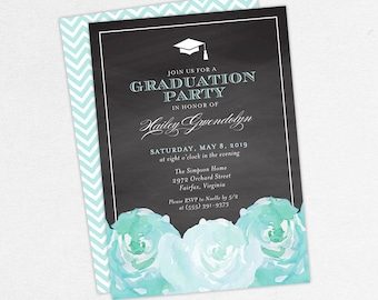 Graduation Invitation, Graduation Announcement, Printable Invitation, Invitation PDF, DIY, Printed, Watercolor Flowers, Chalk, Blue, Hailey