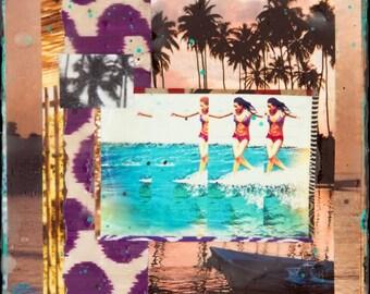 HAWAIIAN TROPIC, Kelia Moniz, 8x10, 11x14, 16x20, 3 Sizes, Hand Signed Matted Print, Palm Trees, Tropical, Surfing, Roxy, Fun