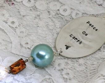 Christmas Ornament - PEACE ON EARTH - Vintage Spoon Silverware Ornament - Aqua, Topaz - Keepsake Gift Made in Usa