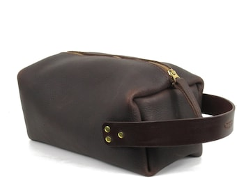 Shave Bag Plus Brown or Black Oil Tan Leather