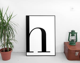 High Quality Letter H, H Print, H Poster, Letters Art, Letters Typography, Letter
