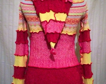Spring Inspired Upcycled Sweater Coat/Hoodie Small OOAK