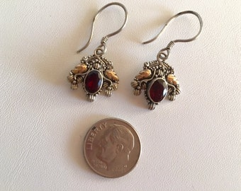 Bali Silver & Gold Earrings-Drop Earrings With Garnet