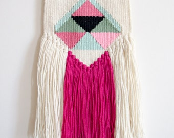 Handwoven wall hanging, fiber wall art, handcrafted tapestry, colorful wall decor