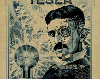 Nikola Tesla poster. 12x18. Inventor. Thomas Edison. Historical art. ac/dc. Kraft paper. Knoxville. Tennessee. Art.