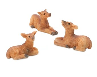 Miniature Deer Figures ~ Fairy Garden Animals ~ Shadow Box Display ~ Set of 3 Minis