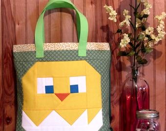 Spring Chick & Egg Tote Bag Sewing Pattern, PDF download, Pixel Quilt, Book Bag