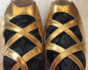 1930s vintage kid leather gold sandals. Wedding party evening