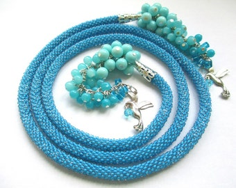 Light blue beaded lariat necklace – long crochet seed bead lariat necklace – beaded rope necklace with tassel