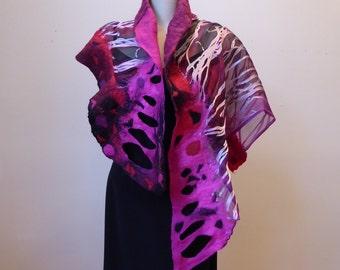 felted silk shawl/wrap, painted silk and merino wool