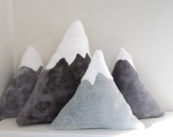Mountain Pillows -  Snow capped plush accent pillow - baby nursery decor