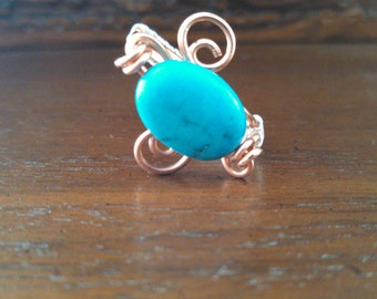Copper Wrapped Magnesite Ring