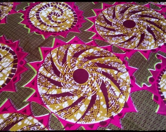 Pink, beige and Brown African wax fabric