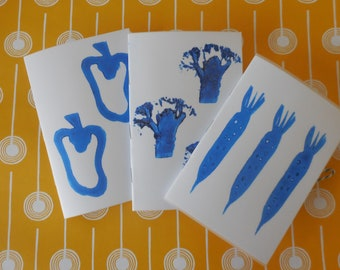 Hand PrintedSet of 3 Mini Notebooks Vegetable Print Blue and White