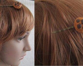 fashion accessory hair barrette polymer fimo bronze cookie