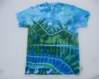 tie dye shirt, landscape, watercolor, rainbow, mountains, Earth Day