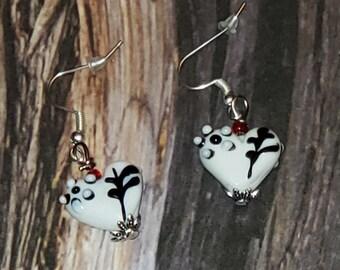 White and Black Glass Heart Drop Earrings