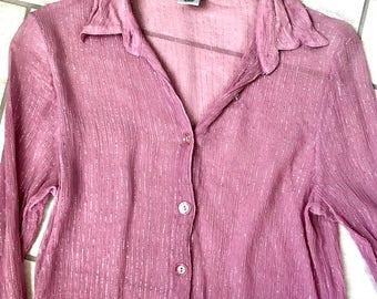 Vintage 1990s Sheer Long Sleeve Rose Pink Gold Tinsel Pinstripe Silk Dress Shirt Sz S