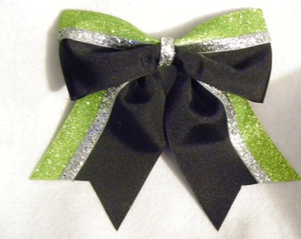 Black Silver and Lime Glitter Hairbow