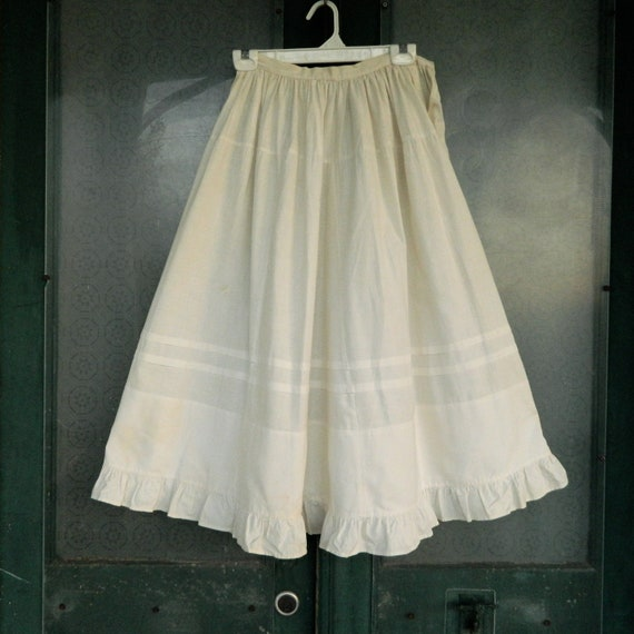 Vintage Creamy White Cotton Lace Petticoat Slip with Ruffle Hem Hand-Stitched