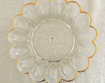 Deviled Egg Plate for Easter, Indiana Glass Hobnail with Gold