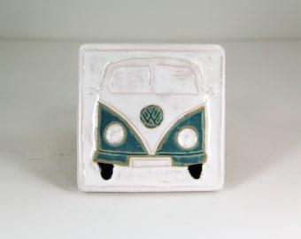 volkswagen bus art, car tile, ceramic tile, transportation art