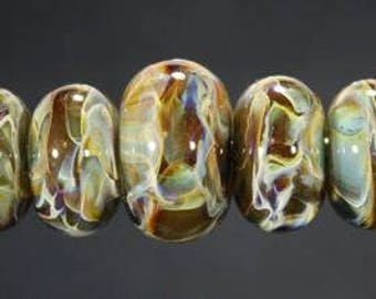 Lampwork Glass Boro Bead Set of 9 With Focal Bead Handmade Juba Glass Caramel Coffee Sparkle 8a