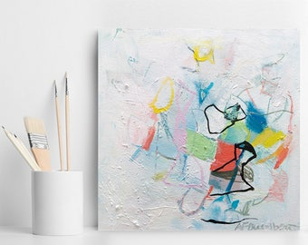 """Small Abstract Painting Original acrylic painting canvas art colorful wall art gift for her """"A Complex Soul 01"""" Duealberi"""