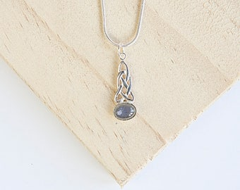 Abhirati Celtic Pendant, Sterling Silver, Gaelic, Celtic Knot, Pagan, Wiccan, Personalise Necklace, Topaz, Moonstone, Amethyst, Peridot,