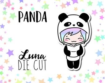 Panda Luna DIE CUT - Traveler's Notebook Scrapbook Panda Die Cut Planner Kawaii Character Doodle