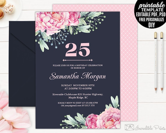 Navy Th Birthday Invitation Template Printable Pink - 25th birthday invitation templates