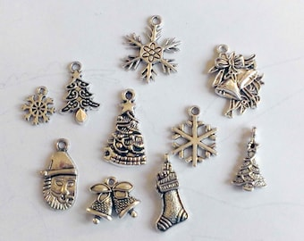 Christmas Silver Charms.10pc Silver Charms .antique silver style.Jewelry Diy Accessorise