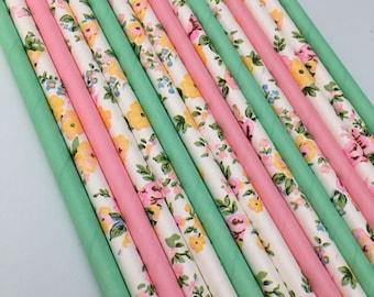 Tea Party Straws, Spring Party Straws, Birthday Party Straws, Easter Party Straws