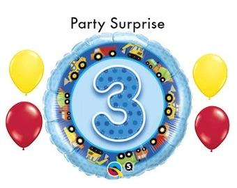3rd Birthday Boy Balloons, 3 year old Boy Birthday Party Balloons