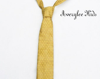 Boys Gold Necktie, Toddler Formal Wear, Page Boy Outfit, Boys Buttercup Necktie, Infant Neck Tie, Wedding Ring Bearer, Page Boy Gold Necktie
