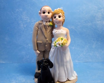 Custom wedding cake topper, Bride and groom with dog cake topper, personalized cake topper, Mr and Mrs cake topper, custom cake topper