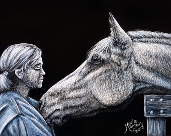 Original ACEO Scratchboard Art Card - The LOVE of A HORSE - Equine Head Portrait Girl Woman Animal Painting Miniature Safyre Studios