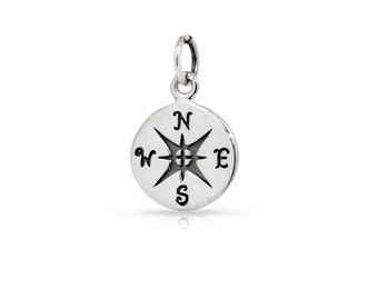 Sterling Silver 10mm Compass Charm - 1pc  Made in Thailand 20% discounted (3874)/1
