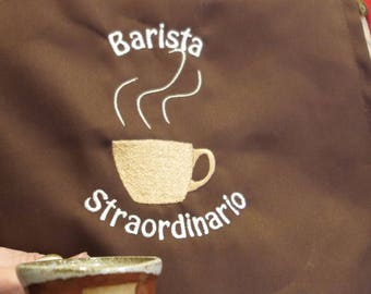 Apron for the Barista-dark brown with embroidery