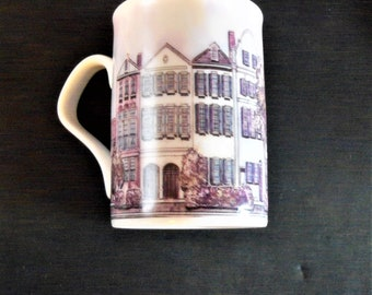 2 Cup/Mugs Rainbow Row Fine Porcelain inhesion Giftware Designed by Patsy Gullett
