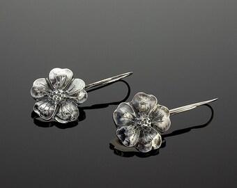 Handmade Sterling Silver Flower Earrings
