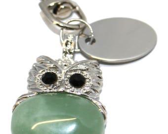 Engraved / personalised imitation green aventurine owl keyring / handbag charm pouch BR445